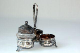 Menage Salz - Und Pfeffer Senftöpfchen Versilbert Um 1900 Antik Shabby Chic Tilda Bild