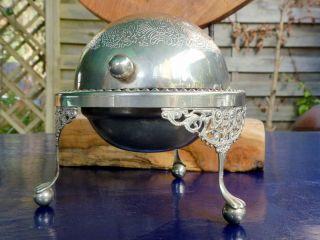 Antik Silberkugel &glaseinsatz Löwenfüße England Servierschale Butter Konfitüre Bild