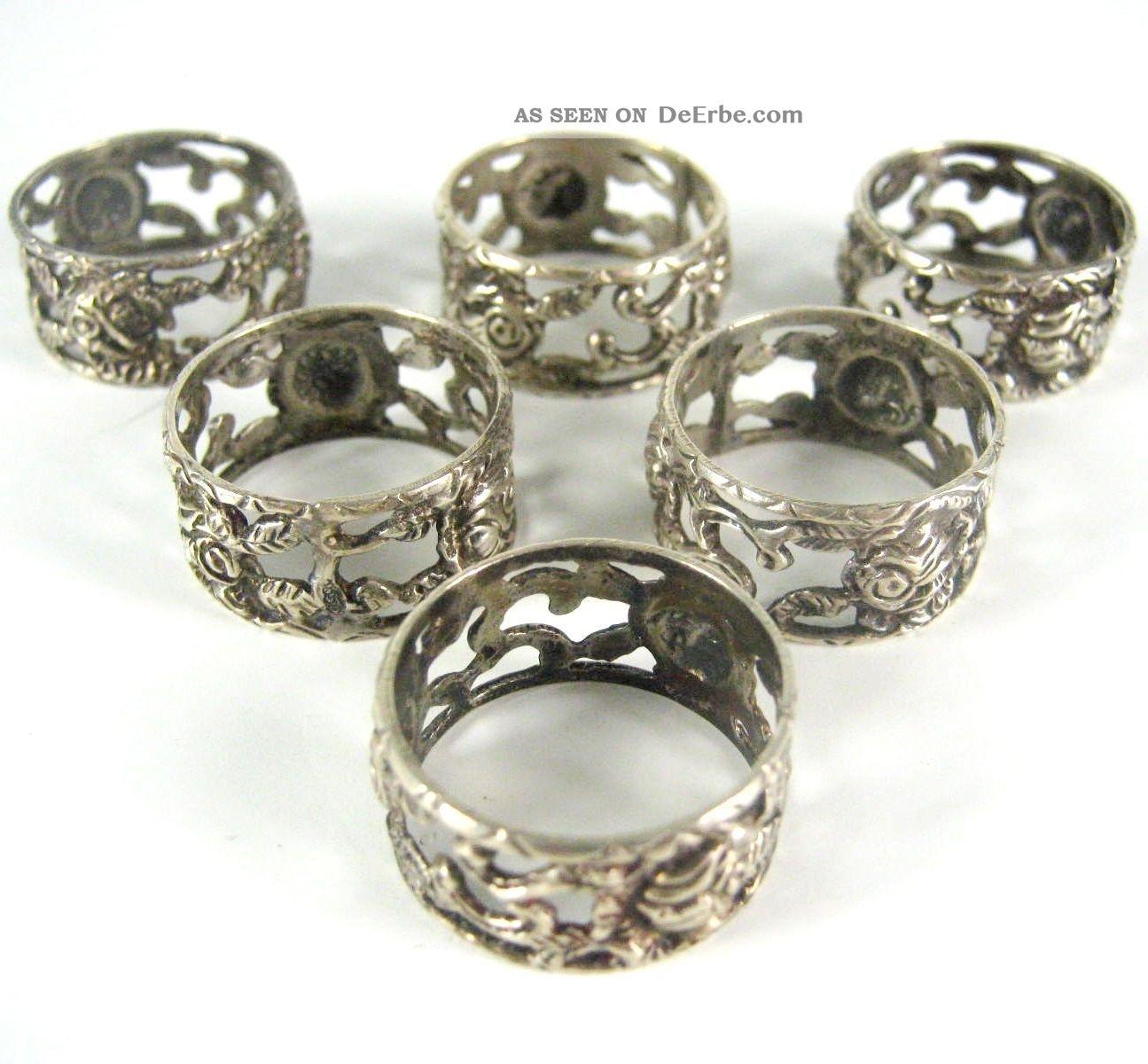christoph bach serviettenringe aus 835er silber 6 st ck silver napkin rings. Black Bedroom Furniture Sets. Home Design Ideas