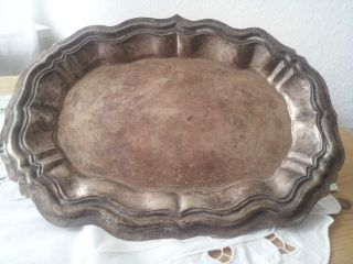 Antike Schwere Silber Barockschale über 500 Gramm Mehrfach Silber Gepunzttablett Bild
