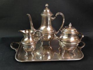Exquisites Prunk Kaffee/teeservice 4 - Teilig Auf Tablett Versilbert Um 1900 Bild