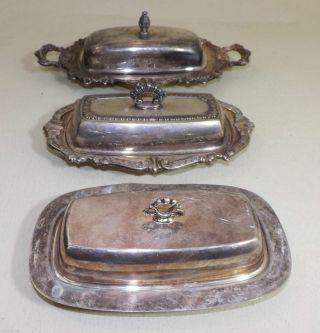 Butterdosen,  Versilbert - Ca.  1930,  Usa - 3 Stk.  Mit Schönen Verzierungen Bild