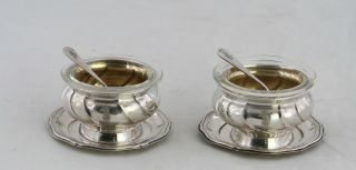 800 Silber Salz & Pfeffer Schale M.  Glaseinsatz,  Unterteller,  Löffel &adelswappen Bild