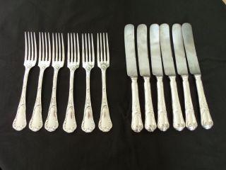 Besteck Christofle Marly,  6 Gabeln,  6 Messer,  Versilbert,  1900,  Gepunzt,  Jugendstil Bild