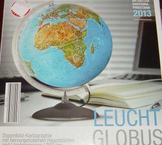 Globus Leuchtglobus,  40cm Höhe,  Deutsch,  Doppelbild Kartographie, Bild