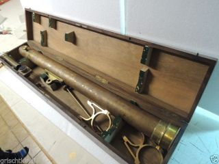 Dachbodenfund : Sehr Altes Grosses Messingteleskop Im Koffer 19.  Jhrt Bild