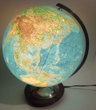 Beleuchteter Columbus Duo Erdglobus Globus Art Deco Holz - Edelstahl Sockel 1950 Bild