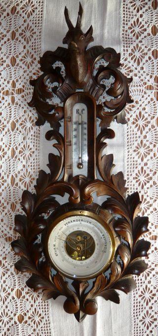 Antikes Barometer Mit Thermometer Aus Dunklem Holz - Um 1920 - Funktionstüchtig Bild