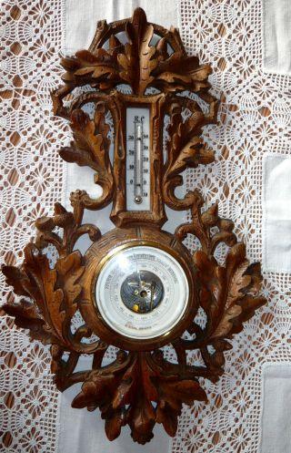 Antikes Barometer Mit Thermometer Helles Holz - Um 1920 - H.  Fröbel Hamburg Bild