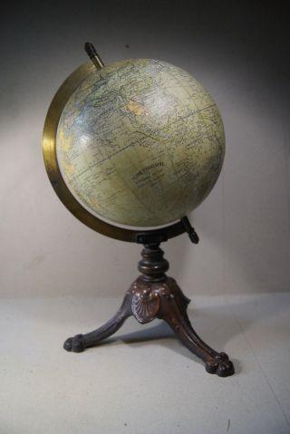 Schwerer Antiker Globus Frankreich Um 1910 Bild