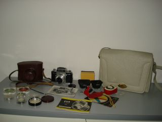 Exa I /1961 Fotokamera Tasche - HÜlle - Filter Usw.  Viel ZubehÖr Ansehen Sammler Bild
