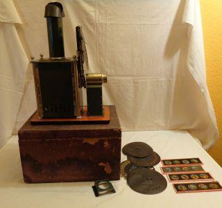 Laterna Magica Bing Plank ? Petroleum Brenner Orig.  Holzbox Glasbilder Bildpla Bild
