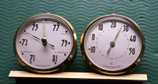 Alte Tisch Wetterstation Mit Barometer & Thermometer Bild