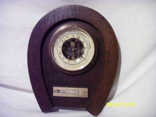 Alte Wetterstation Thermometer Barometer Quecksilber,  Hufeisen,  1930,  Pferd,  Eiche Bild