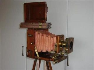 Antik Kamera Lancaster Instantograph Holz Balgenkamera V.  1892 Wray London Bild