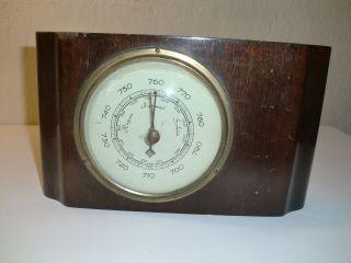 Art - Deco Barometer Alt Ø13cm In Massivholz 22 X 13 Cm Bild