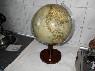 Alter Globus Columbus Erdglobus Von 1941 Modell 200 Holzfuß Und Kompass 2 Bild