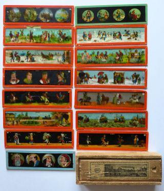 15 Glasbilder Bildstreifen Für Laterna Magica Mit Holzschachtel Bild