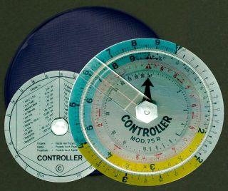 Rare Rechenscheibe: Controller Mod.  75 R Aus Metall - Mit Etui Bild
