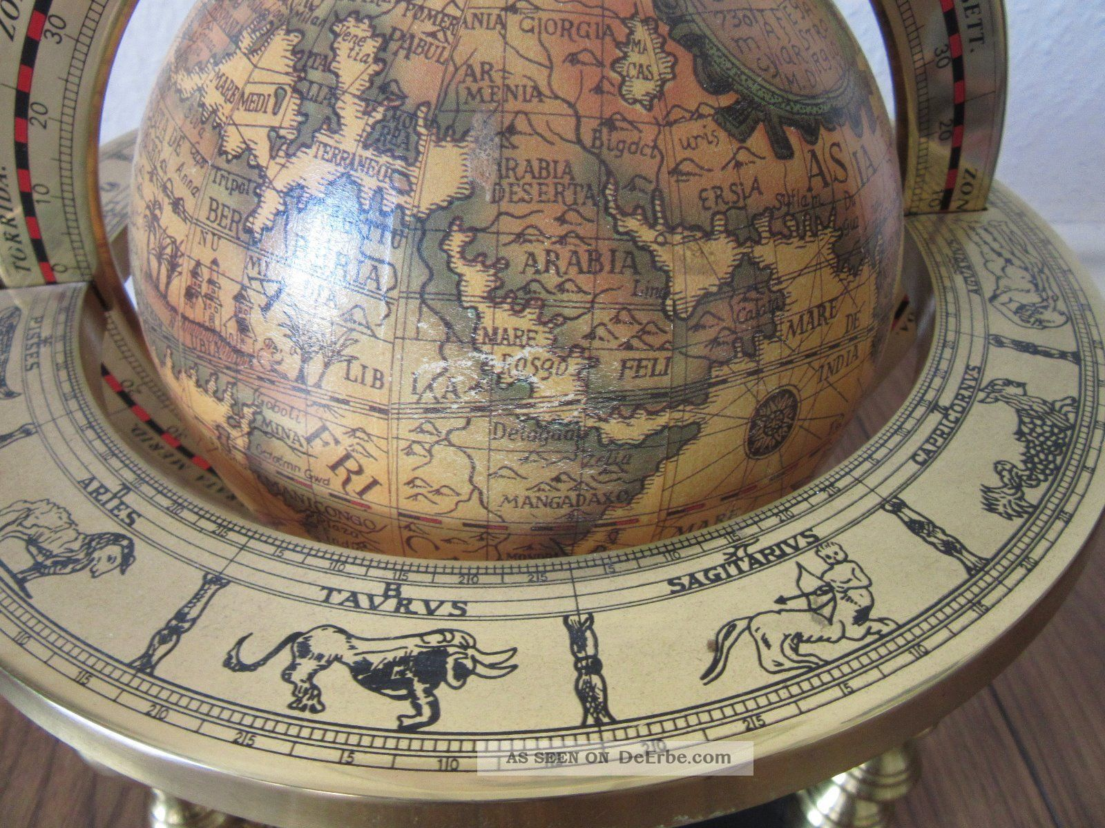 Globus Weltkugel Karte.Origineller Globus Weltkugel Mit Antiker Karte Und Tierkreiszeichen