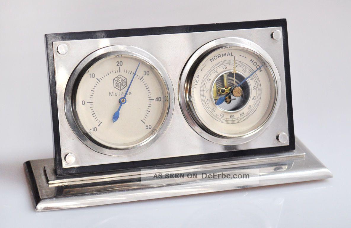 Tisch wetterstation thermometer barometer retro vintage for Tisch retro