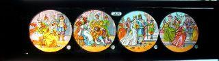 Antike Bildplatte Mit 4 Glasbildern Märchen Für Laterna Magica Um 1900 Rar (b) Bild