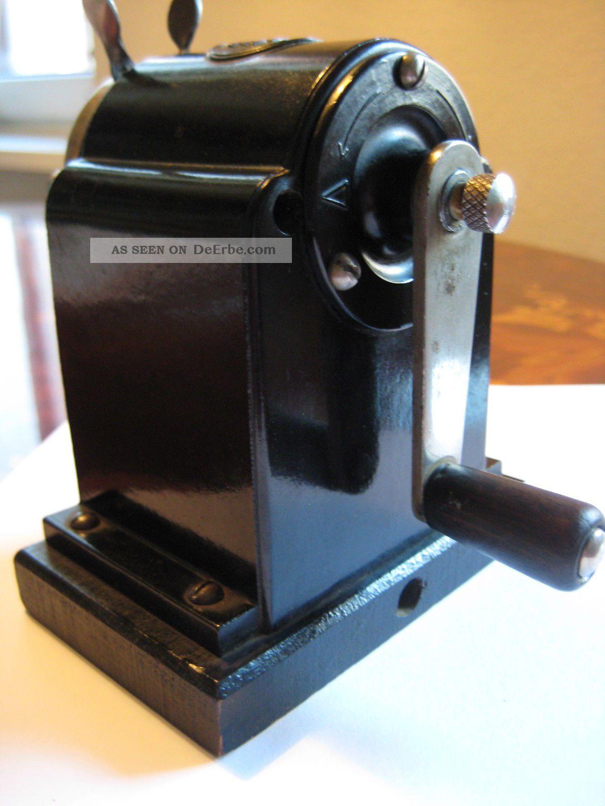 org fte 110 kurbel anspitzer spitzmaschine bakelit holzsockel berholt vintage. Black Bedroom Furniture Sets. Home Design Ideas