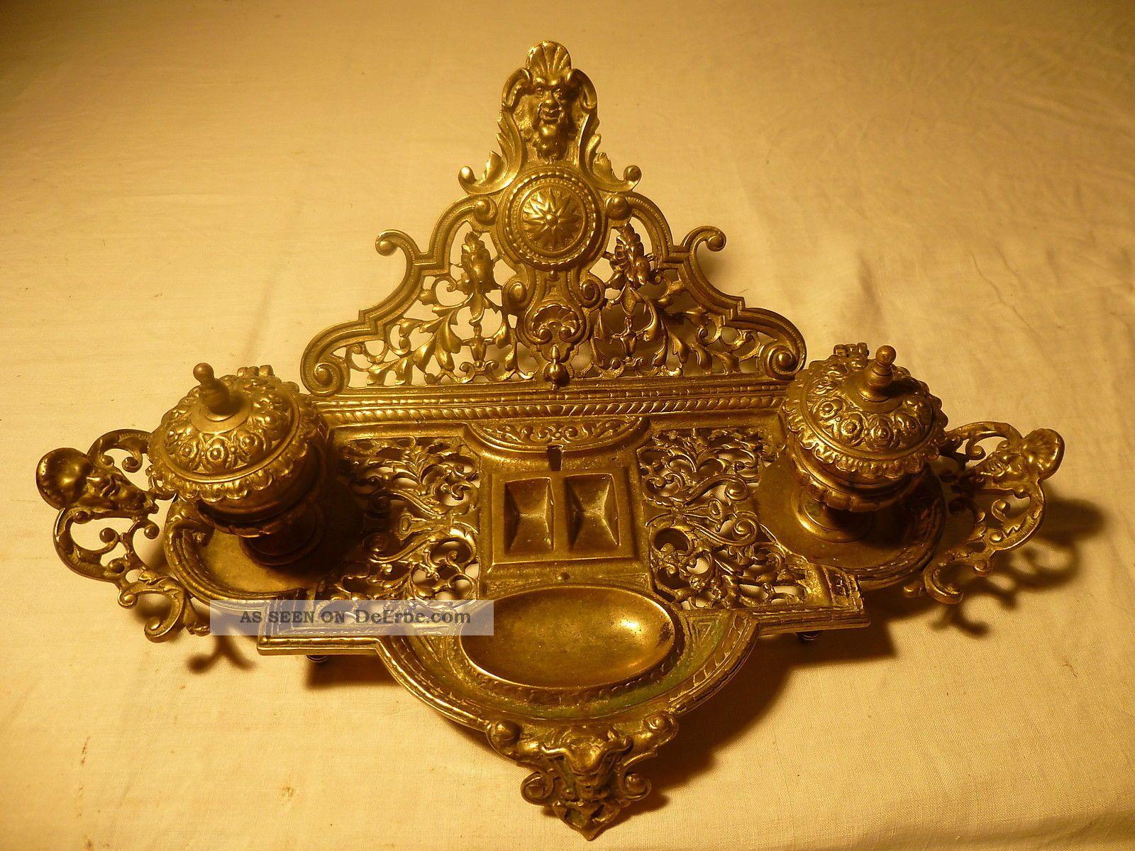 Antike Schreibtischgarnitur Schreibtisch Buro Bronze Jugendstil
