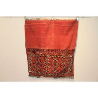 Antik Alter Handgeknüpfter Orientteppich Jomut Tekke Tappeto Rug 130x190cm Bild