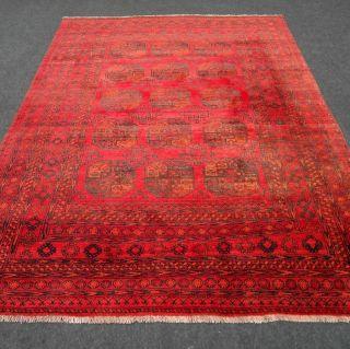 Orient Teppich Afghan Alt Andkhoi Rot 262 X 203 Cm Perserteppich Red Carpet Rug Bild