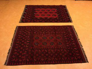 Ein Paar Teppich Afghan Anitik Bild