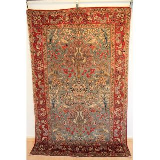 Antiker Großartiger Feiner Hangeknüpfter Perser Orientteppich Lebensbaum Carpet Bild