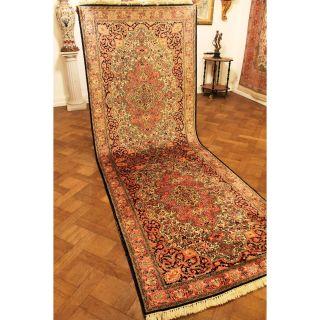 Prachtvoller Handgeknüpfter Seidenteppich Läufer Seide Tappeto Carpet 120x330cm Bild