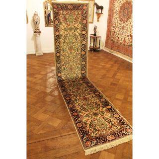 Prachtvoller Handgeknüpfter Seidenteppich Läufer Seide Tappeto Carpet 81x375cm Bild