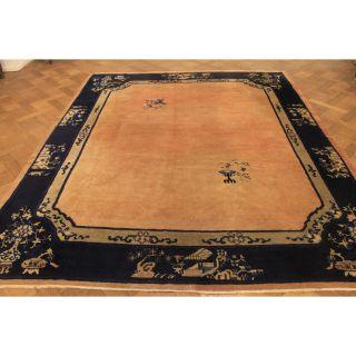 Wunderschöner Antiker Handgeknüpfter China Art Deco Orient Palast Teppich Carpet Bild