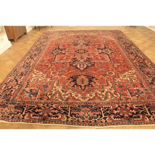 Einzigartiger Alter Handgeknüpfter Orient Perser Palast Teppich Heris 286x408cm Bild