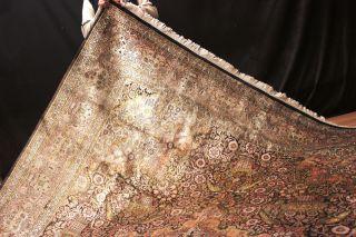 Palast Seidenteppich Blumen Kaschmir Seide Top Teppich Silk Rug 330x250cm Bild