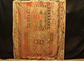Antiker Alter Kazak Kelim 200x180cm Carpet Rug Kilim 3644 Tappeto Schirwan Kuba Bild