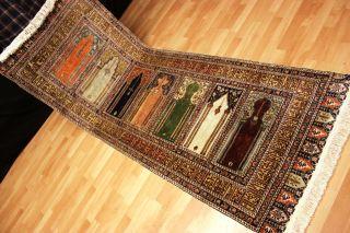 Antiker Seidenteppich Kayseri Seide Teppich Gebetsmotiv Top Silk Seta 225x83cm Bild