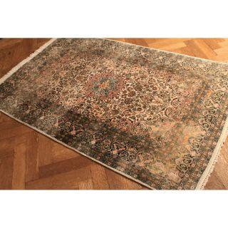 Hochwertiger Handgeknüpfter Seiden Teppich Mit Medallion Seide Teppich Top Bild