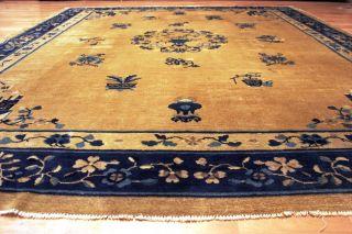 100 Jahre Antiker Aubussion China Peking Creme Orient Teppich Old Rug 292x245cm Bild
