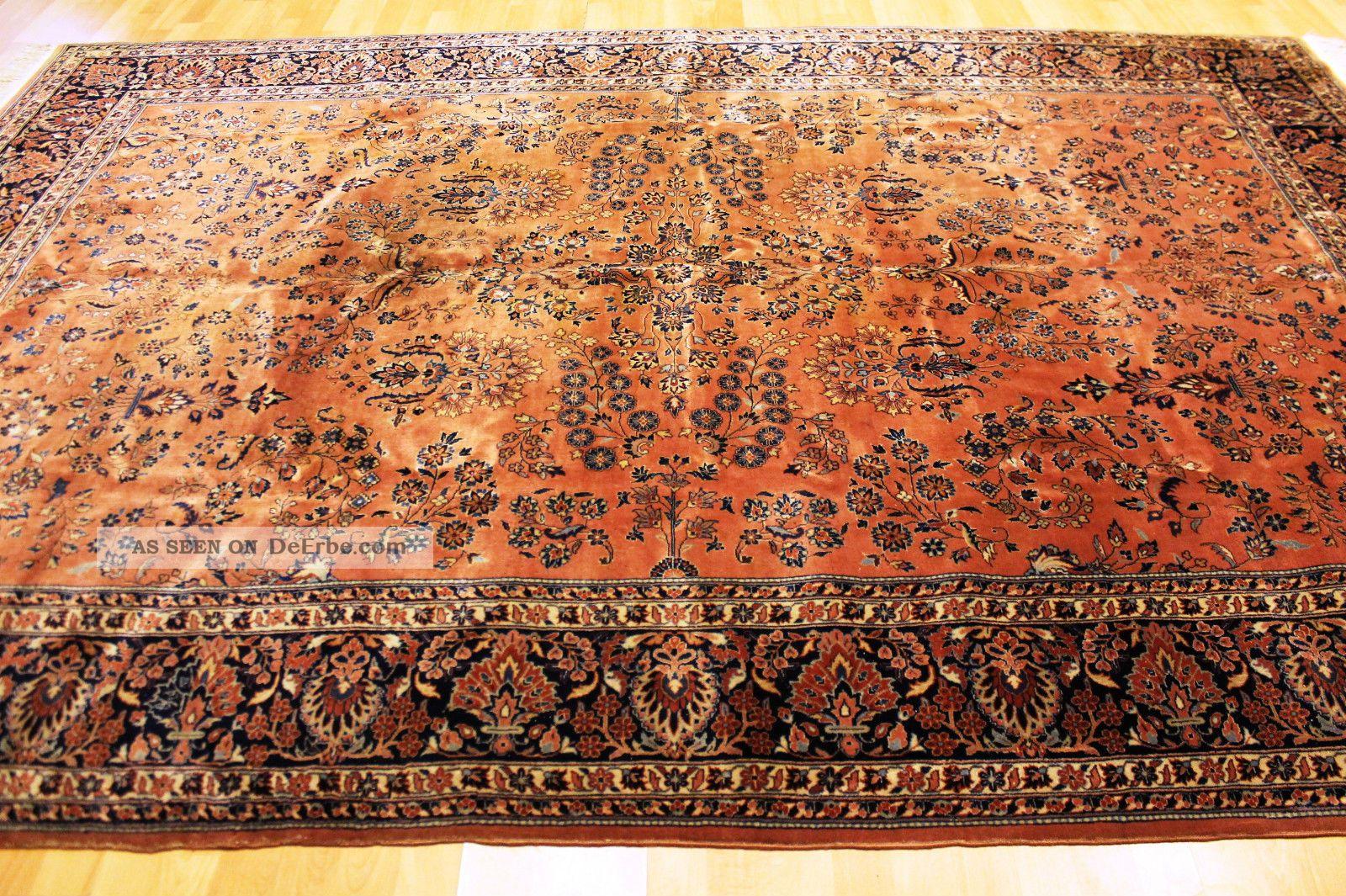 Alter Feiner Us Blumen Jugendstil Teppich Ca 305x205cm