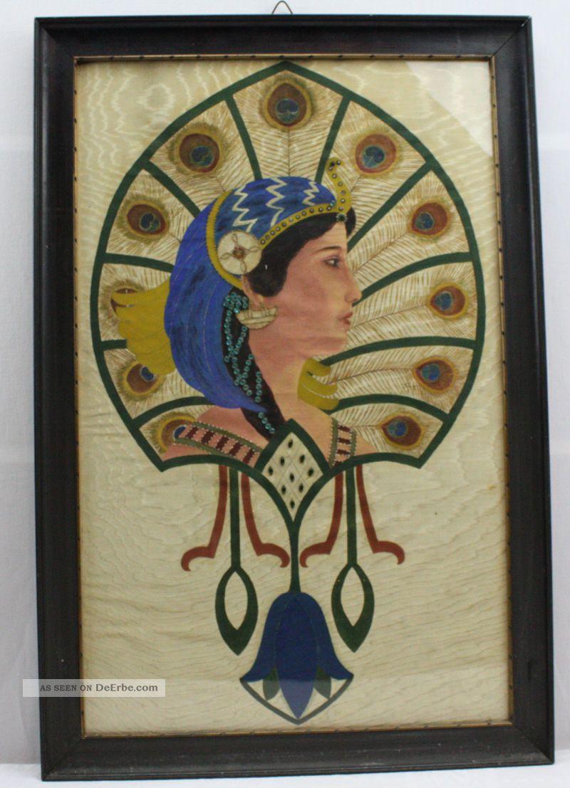 Jugendstil Malerei schöne malerei mit perlen u paillettenstickerei auf seide jugendstil