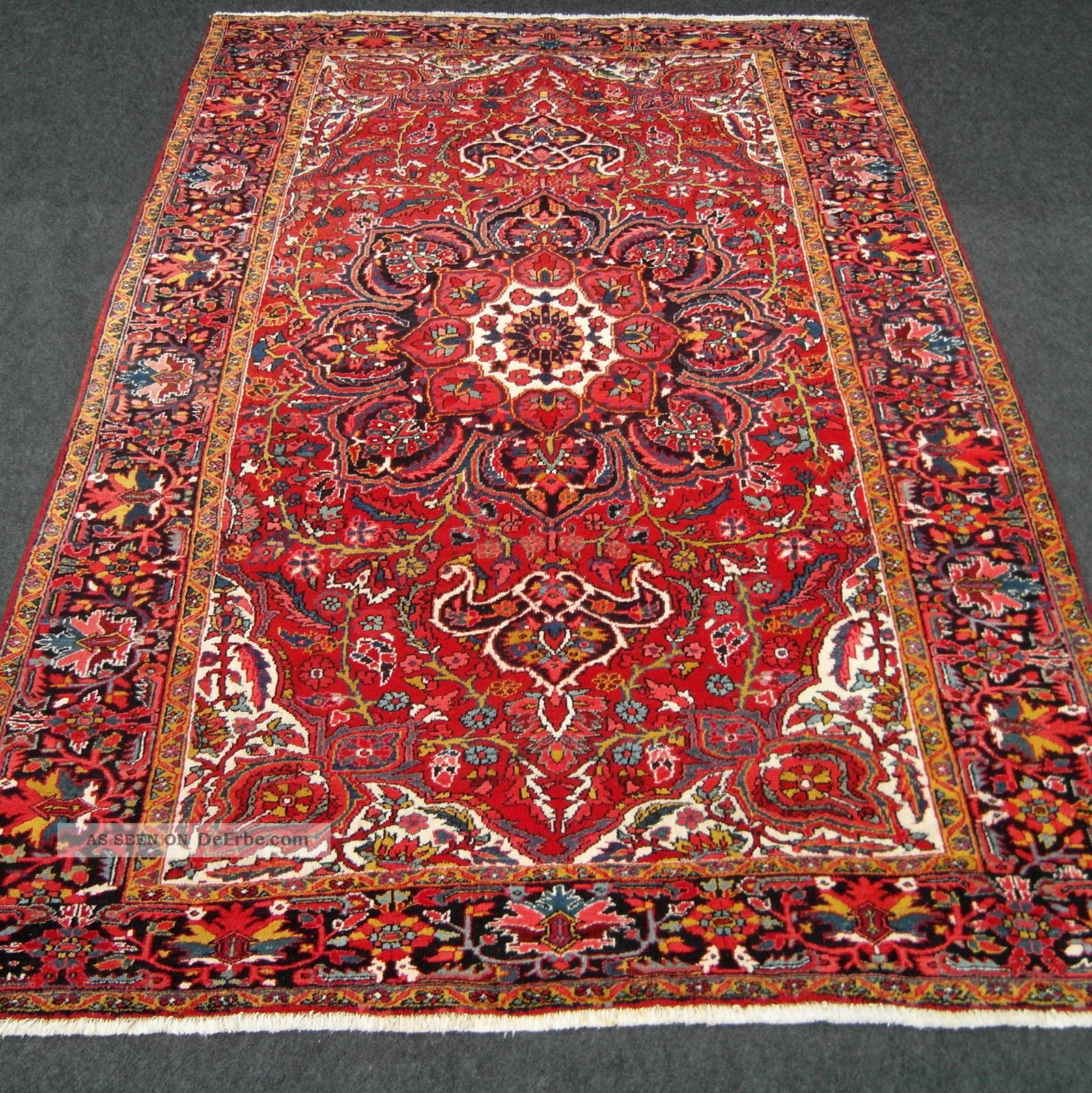 orient teppich rot beige floral 369 x 260 cm medaillon perserteppich old carpet. Black Bedroom Furniture Sets. Home Design Ideas
