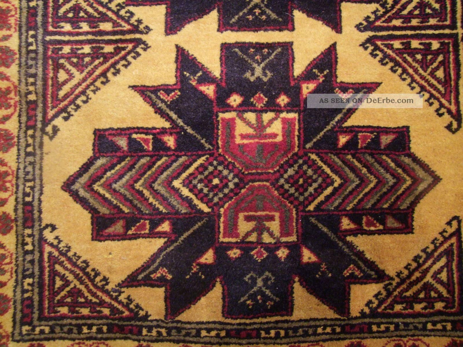Alter Handgeknuepfter Orient Teppich Bauhaus Art Deco