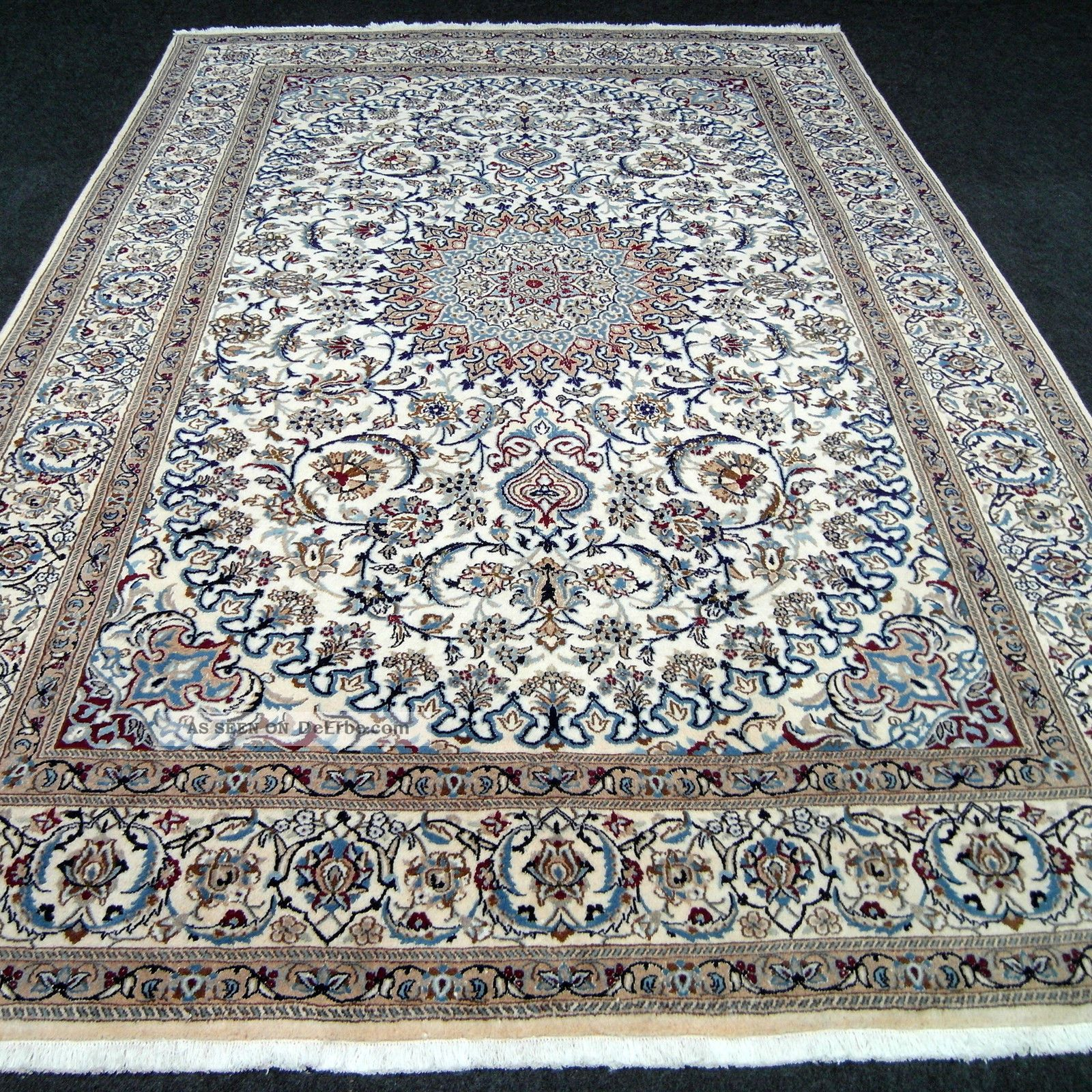 feiner orient teppich beige blau 364 x 249 cm perserteppich seide silk rug tapis. Black Bedroom Furniture Sets. Home Design Ideas