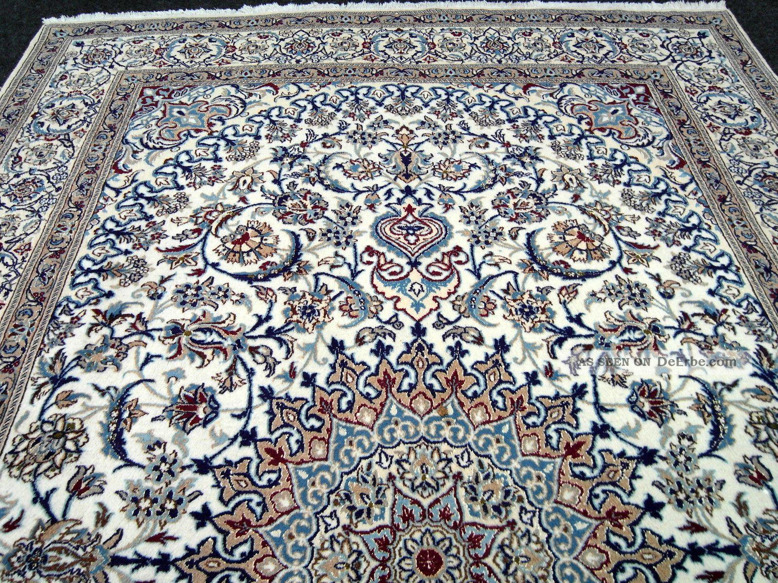 Perserteppich blau  Feiner Orient Teppich Beige Blau 364 X 249 Cm Perserteppich Seide ...