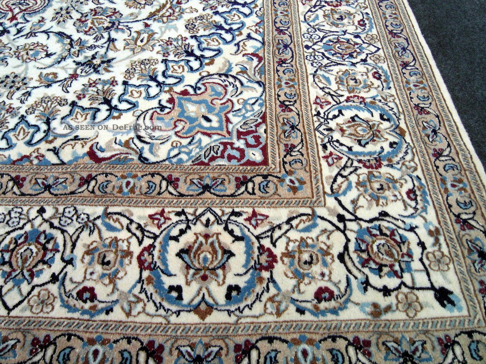 Perserteppich seide  Feiner Orient Teppich Beige Blau 364 X 249 Cm Perserteppich Seide ...