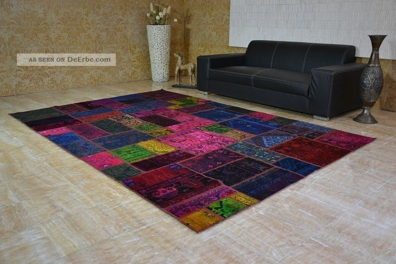 patchwork vintage teppich handgekn pft orient handmade rug decolorized 300x205cm. Black Bedroom Furniture Sets. Home Design Ideas