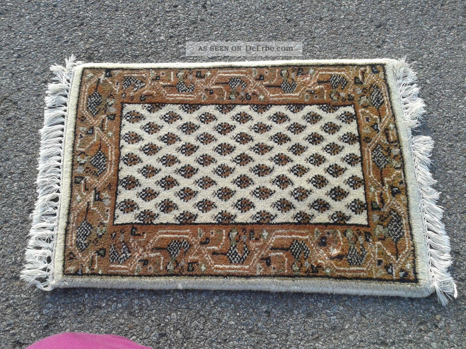 Antiker Teppich Läufer Beige Ca 40cmx 66cm Mit Fransen